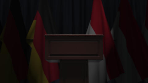 Flags of Indonesia and Germany and tribune, 3D animation GIF