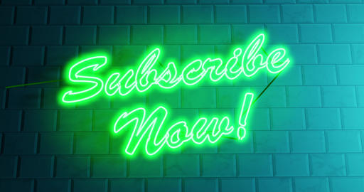 Subscribe now sign in glowing neon for subscription and application - 4k Animation