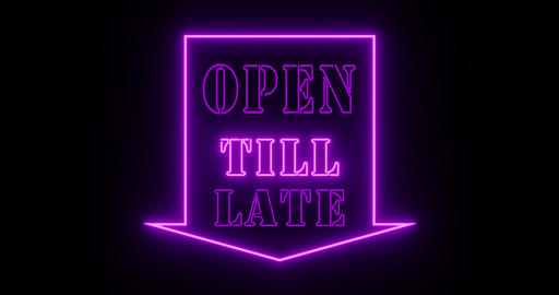 Open till late sign for nightclub night spot or bar - 4k Animation