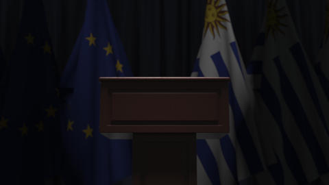Flags of Uruguay and the European Union and tribune, 3D animation Live Action
