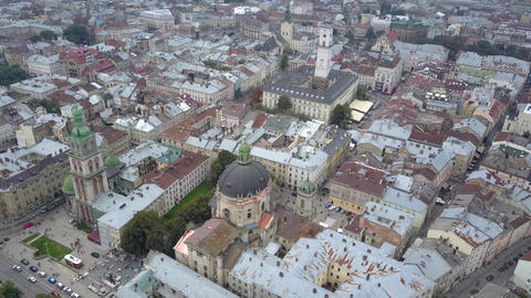 Top view of the center of Lviv city. Beautiful drone shot of Ukrainan city Lviv Live Action