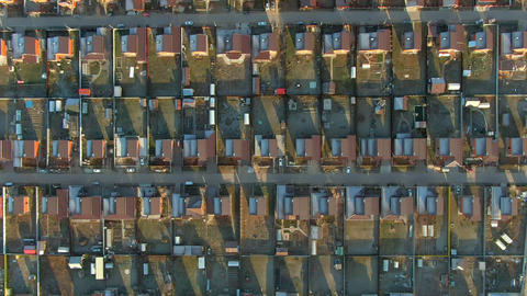 Top aerial view houses in cottage village. Modern cottage village in countryside with same houses Live Action