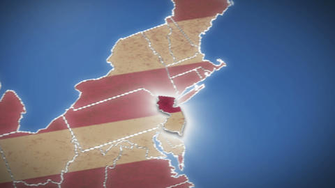 USA map, New Jersey pull out, all states available. Blue background Footage