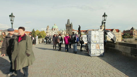 people at Charles bridge in Prague Footage