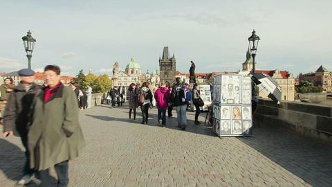 people at Charles bridge in Prague Footage