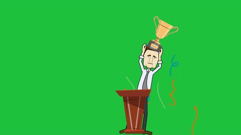 Man at Podium Holding Trophy (Green Screen + Matte): Loop Animation