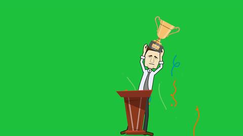 Man at Podium Holding Trophy (Green Screen + Matte): Loop Animation