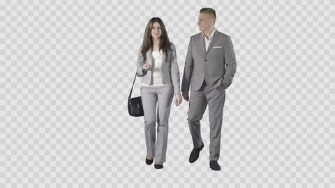 Male and girl in gray business clothes are walking at the camera. Alpha channel Footage