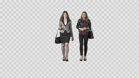 Two beautiful girls in business clothes are walking at the camera. Alpha channel Footage