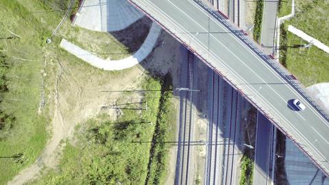 Flight Above Railway Footage