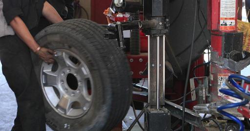 Wheel balance automobile repair shop DCI 4K Footage