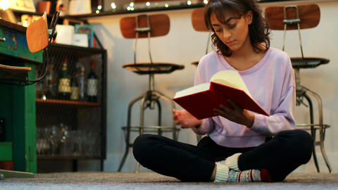 Front view of mixed-race young woman reading a book in a comfortable home 4k Live Action