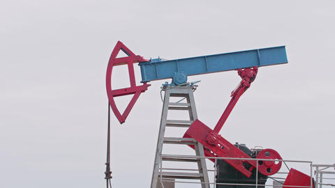 Oil Drilling Rig Extraction of Oil and Pump Jack is Industry Equipment Loop Live Action