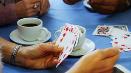Senior friends playing cards at nursing home 4k Live Action