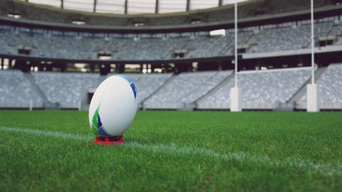 Rugby ball on a grass in the stadium 4k Live Action