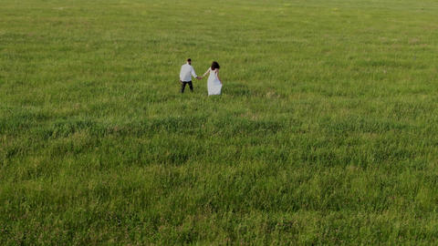 A man in trousers and a woman in a white dress walk on a green field Live Action