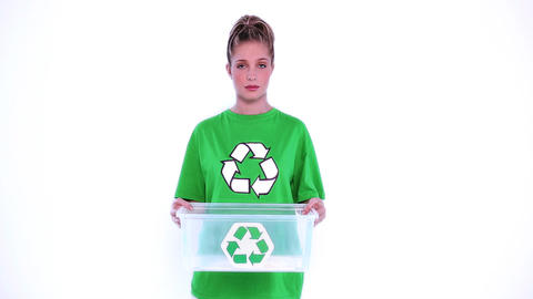 Desperate environmental activist showing a plastic box Live Action