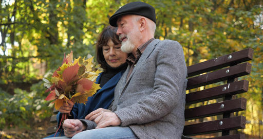 Happy elderly family spends leisure sitting on a bench in the fresh air of an Live Action