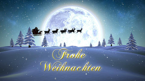 Frohe weihnachten message with flying santa Live Action