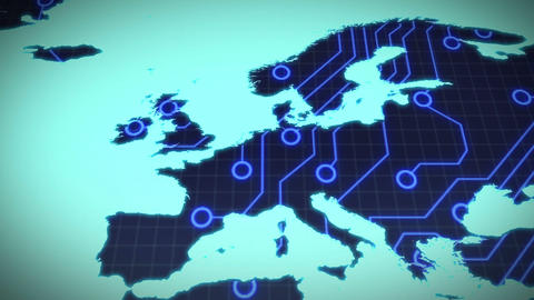 Circuit board europe on blue background Live Action