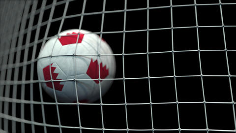 Ball with flags of Bahrain hits goal. 3D animation Live Action