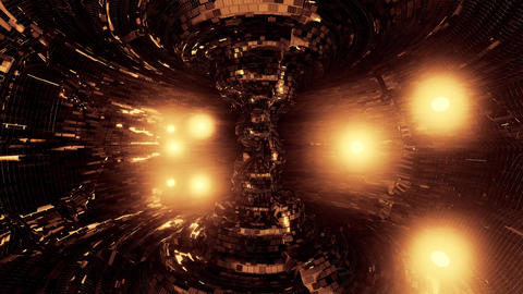 abstract nuclear reactor with glowing atom parrticles and nice reflections 3d Animation