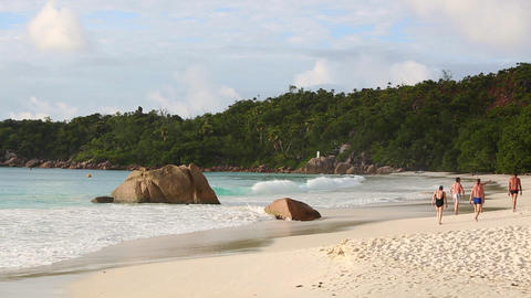 Tourists at the beach of Anse Lazio, Seychelles Live Action