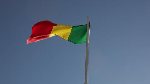 Textile flag of Senegal on a flagpole Footage