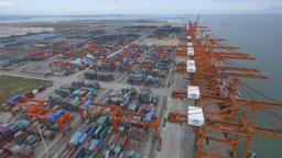 Aerial view of port container ships Footage