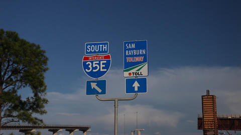 Hghway 35E south and Sam Rayburn Tollway signs Footage