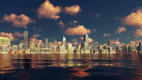 Modern big city view from water time lapse 3D animation Footage