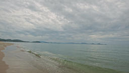 Sand Beach Wave Surf of Transparent Shallow Azure Sea Footage