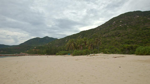 Long Sand Beach with Palms at Foot of Hill Azure Sea Footage