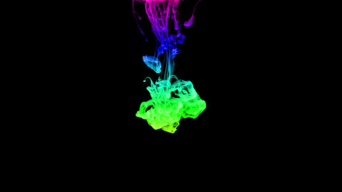 Colorful and Black ink drop falling gracefully through water Animation
