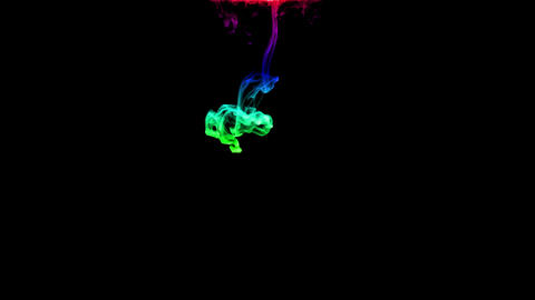 Colorful and Black ink drop falling gracefully through water CG動画素材
