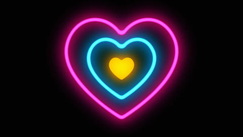 Glowing colorful Blue purple yellow neon heart hypnotize lights . Seamless VJ Animation