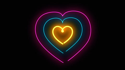 Glowing colorful Blue purple yellow neon heart hypnotize lights . Seamless VJ Animation