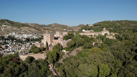Aerial View Of The Fortress Alhambra In Granada Spain Live Action