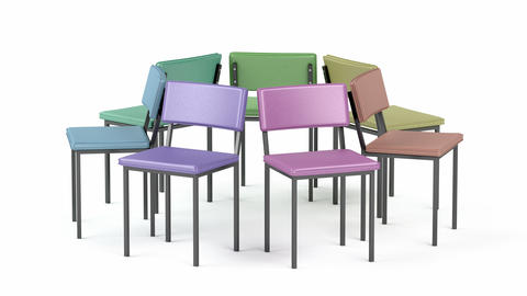 Colorful leather chairs Animation