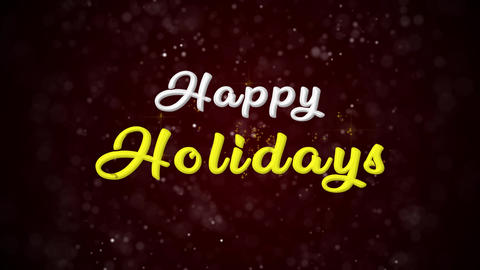 Happy Holidays Colorful text appears on shiny bokeh background and glitter Animation
