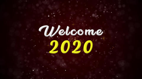 Welcome 2020 Colorful text appears on shiny bokeh background and glitter Animation