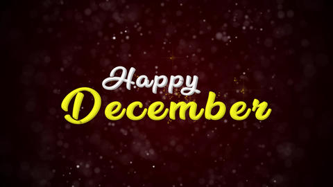 Happy December Colorful text appears on shiny bokeh background and glitter Animation
