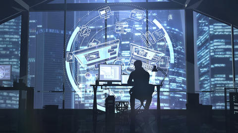 Silhouette of a web developer on the background of evening skyscrapers Animation
