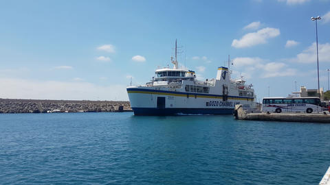 Gozo Island, Malta - August 03 2016: Gozo Channel Line Ferry departing Gozo port Footage