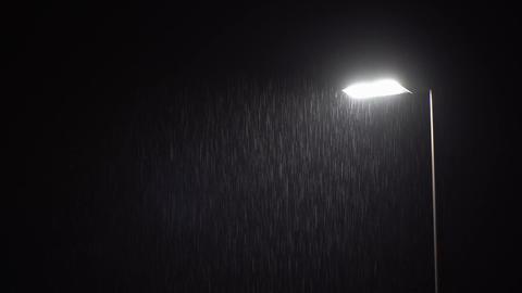 Illuminated Public Lamp in Dark Night Heavy Rain Footage