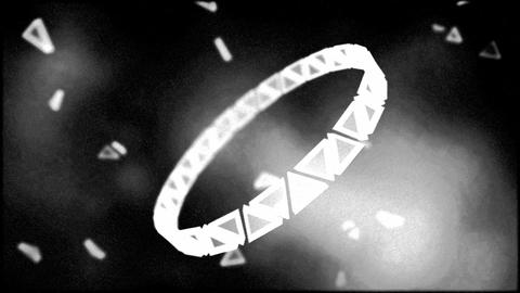 Monochrome Rotating Ring of Triangles Animation - Loop Animation