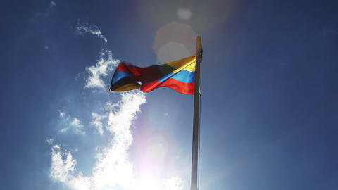 National flag of Colombia on a flagpole Footage