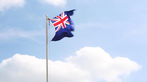 National flag of New Zealand on a flagpole Footage