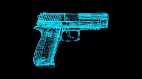 Holographic Pistol Gun - Full HD Loopable Animation Background Animation