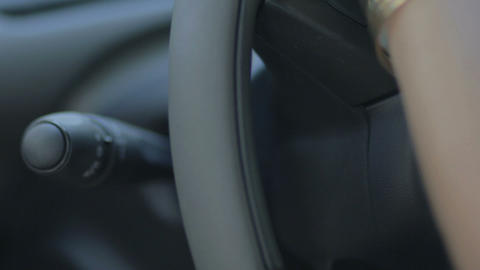 Sound audio control buttons on the steering wheel Stock Video Footage